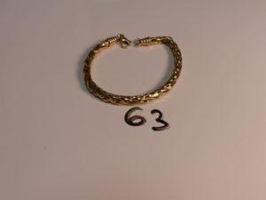 1 bracelet maille palmier cassé en or. PB 11,3g