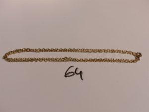 1 chaîne maille forçat en or (L67cm). PB 16,5g
