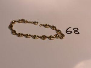 1 bracelet maille grain de café en or (L22cm). PB 11,9g
