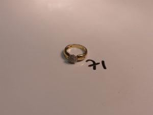 1 bague en or ornée de ptits diamants (Td53). PB 3,8g