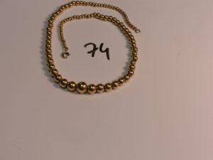 1 collier boules en or montées sur chaîne (L38cm). PB 19,3g