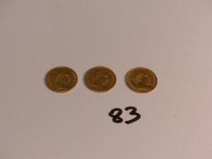 3 pièces de 20Frs en or (1859A/1859A/B1862). PB 19,2g