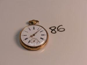 1 montre de poche (ancienne) boîtier or à chiffres romains. PB 60,7g