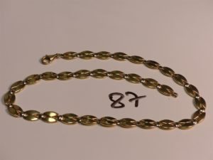 1 collier maille grain de café plate en or (L42cm). PB 19,2g