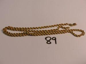 1 collier maille corde cassé en or (L60cm). PB 10,1g