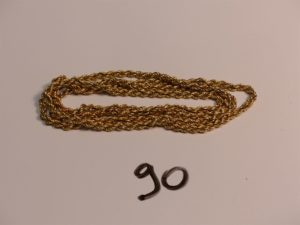 1 collier maille corde en or (L74cm). PB 13,9g