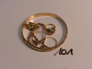 1 lot casse en or et petites pierres (bracelets, bagues). PB 23,4g