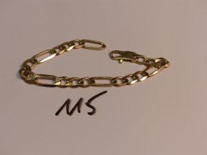 1 bracelet maille alternée en or (L22cm). PB 24g