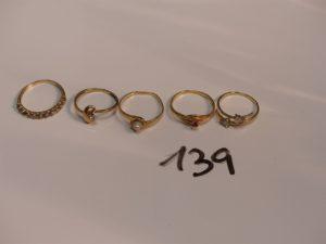 1 lot de 5 bagues en or (1 ornée d'une perle Td54) (4 ornées de petites pierres dont un chaton vide Td50/51/53/55). PB 7,6g ornée de pierr. es (1 chaton vide, monture à. redresser) PB 7,6g dm. 1 Bracelet abimé (pour la cass. e) en or 2,7g dm. 1 Collier 3 ors cassé 4,3g dm4. 1 Chaine maille alternée en or. 4,7g er.