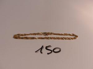1 chaîne maille torsadée en or (L38cm). PB 3,1g