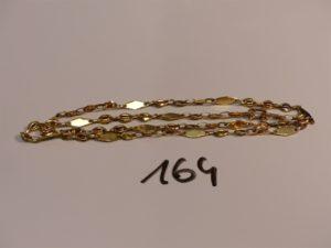 1 chaîne maille grain de café plat en or (L17cm). PB 17,8g
