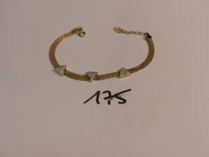 1 bracelet maille en damier en or motifs centraux ornés de petites pierres (L16cm). PB 7,7g