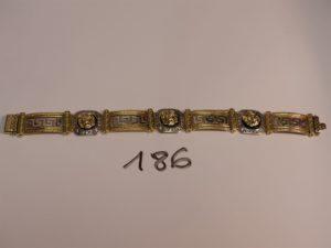 1 bracelet maille articulée bicolore en or style versace orné de petites pierres (L21cm). PB 55,7g