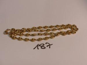 1 chaîne maille grain de café en or (L65cm). PB 31,5g