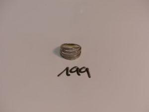 1 bague en or ornée de 4 rangs de petits diamants (1 chaton vide,Td53).PB 5,8g