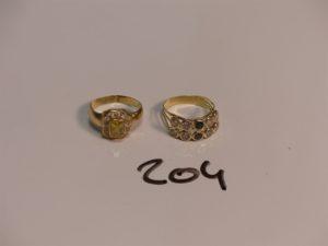 2 bagues en or ornées de pierres (Td55/56). PB 6,3g