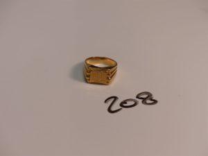 """1 chevalière gravée """"ML"""" en or (Td56). PB 10,4g"""