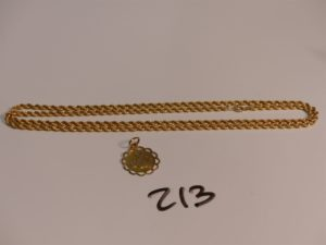 1 chaîne maille corde en or (L63cm, abîmée) et 1 pendentif gravé en or. PB 6,3g