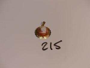 1 pendentif en or serti-griffes 1 camée. PB 3g