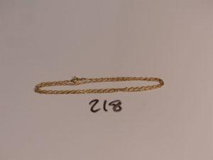 1 chaîne maille cheval en or (L45cm). PB 4,6g