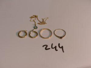 1 paire de créoles en or et 1 alliance en or (TD59). PB 2,8g + 1 chaîne, 1 pendentif coccinelle et 1 bague (manque pierre centrale) le tout en alliage 9K PB 1,4g