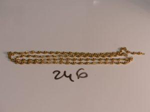1 chaîne maille grain de café en or (fermoir à fixer,L61cm). PB 12,8g