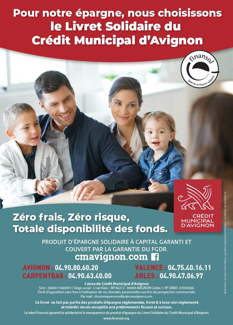 PUBLICITE POUR LE LIVRET D'epargne solidaire du credit municipal qui a obtenu l'agrément finansol