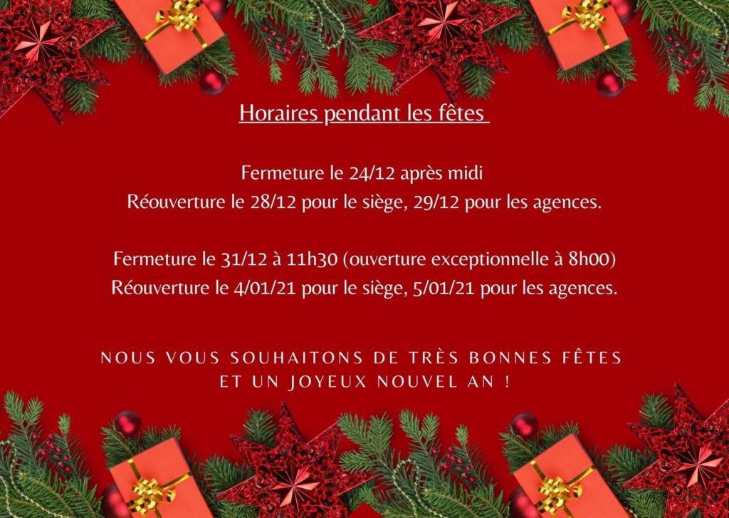 carte de Bonnes Fêtes de fin d'année avec les horaires des agences fond rouge encadrement branche de sapin + cadeaux