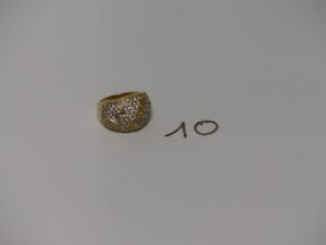 1 bague en or monture bicolore ornée de pierres (td56, un peu fendue). PB 11,2g