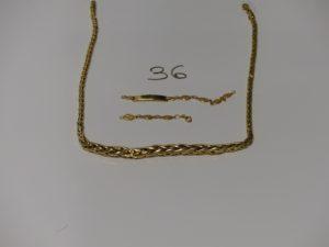 1 collier et 1 bracelet maille palmier très abimés. Le tout en or PB 16,1g
