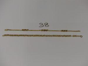 2 bracelets en or (1 boules abimées montées sur chaînette L18cm) et 1 maille corde et maille carrée L18cm). PB 7g