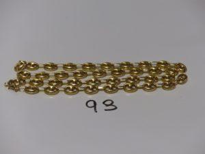 1 collier maille grain de café en or (L54cm). PB 26,7g
