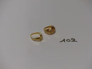 2 chevalières en or (td50 et 54).PB 5,8g