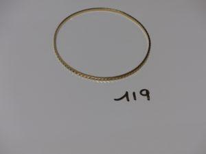 1 bracelet ciselé en or (diamaètre 6,5cm). PB 7,4g