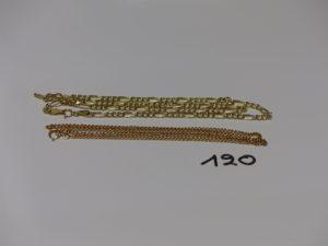 2 chaînes en or : 1 maille gourmette (L40cm) et 1 maille alternée (L42cm). PB 8,6g