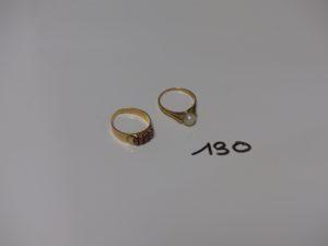 2 bagues enor : 1 rehaussée d'1 perle (Td52) 1 ornée de petites pierres roses (Td53). PB 5,3g