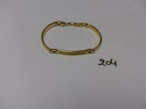 1 bracelet gourmette maille articulée en or (L17,5cm). PB 19,8g