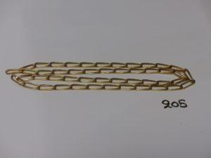 1 chaîne maille alternée en or (sans fermoir, L68cm). PB 30,8g