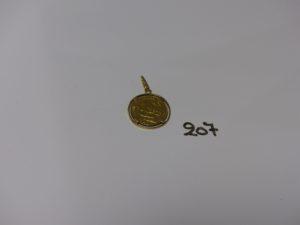 1 pendentif en or serti-griffes une pièce de 20frs RF 1893A. PB 8,2g