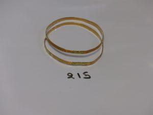 2 bracelets plats ciselés (diamètre 6cm). PB 13,7g