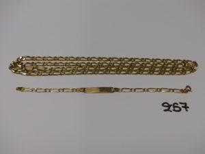 1 chaîne maille alternée (L60cm) et 1 bracelet gourmette gravée (L13,5cm). Le tout en or PB 23,4g