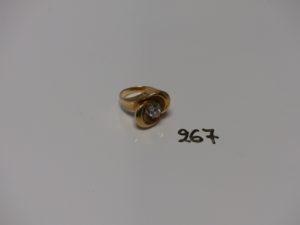 1 bague en or et platine, serti-griffes une diamant d'environ 0,40ct (piqués, td54). PB 7,2g