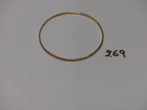1 bracelet rigide ciselé en or (diamètre 7cm). PB 10,8g