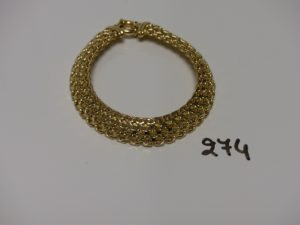 1 bracelet maille tressée en or (L19cm). PB 12,9g