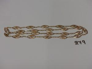 1 collier en or à motifs filigranés (L70cm). PB 13g