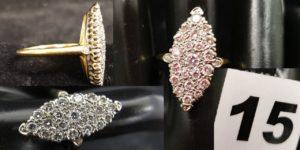 1 Bague marquise en or et diamants (TD 58). PB 6g