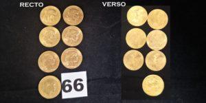 6 Pièces Marianne de 20fr année 1907 et 1 Souverain Edouard VII année 1907. Le tout en or. PB 46,7g