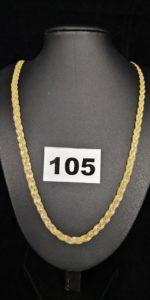 1 Collier en alliage 585/1000 (14k), maille tressée (L 50cm). PB 11,6g