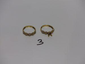 2 bagues en or ornées de petites pierres (1 chaton central vide,Td55). PB 5,3g