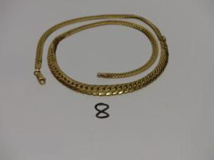 1 collier maille anglaise en or (abîmé,L42cm). PB 12g